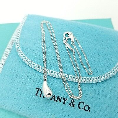 Tiffany & Co. Sterling Silver Elsa Peretti Small Teardrop Pendant 16' Necklace