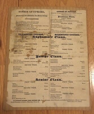 Union College Admission Specifications Document, 1825