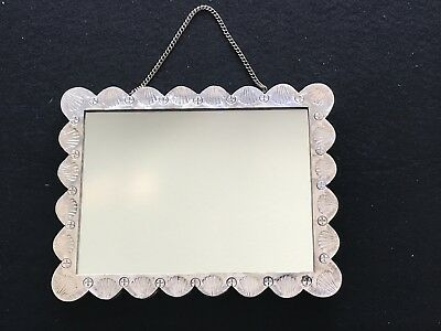 Ornate Floral Design Turkish 900 Silver Framed Mirror With Chain Signed Tugra