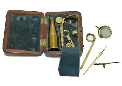 Antique Brass Gould Type Case-Mounted Pocket Microscope by Cary, London, 1828
