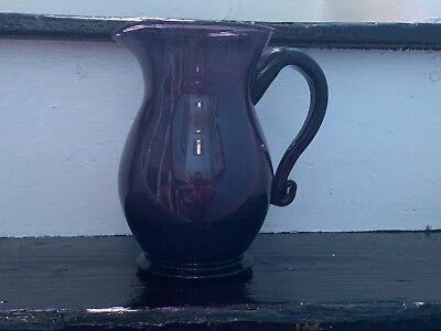 Vintage Large Hand Blown Art Glass Purple Pitcher-Jug MCM Mid Century Decor Gift