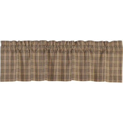 "Country Farmhouse Plaid Cotton 72"" Window Valance.  Charcoal black on dark tan."