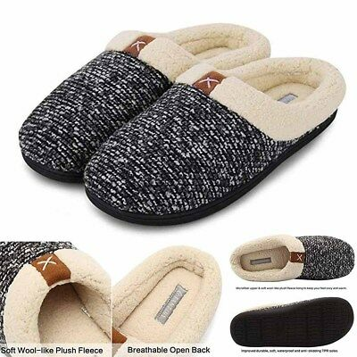 2554b355da3 Men s Slippers Cotton Indoor Fleece Home Winter Floor Shoes Warm Non-slip  Flats