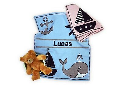 Personalized Nautical Knit Baby Blanket - Personalized Gift - Children's Gift