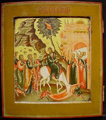 Old Antique Russian Icon Alte Ikone Entry of Christ in Jerusalem, 19-20th C.