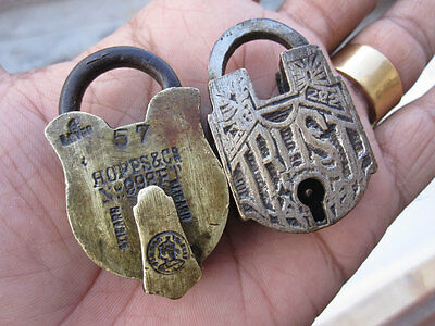 A lot of 2pcs solid brass padlock or lock with key small miniature rare shapes