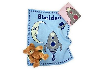 Personalized Moon Rocket Knit Baby Blanket - Personalized Gift - Children's Gift