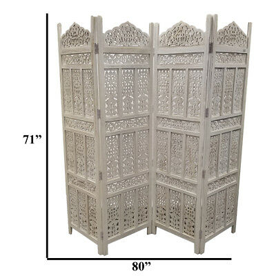 The Urban Port Aesthetically Carved 4-Panel Wooden Partition Screen/Room Divider