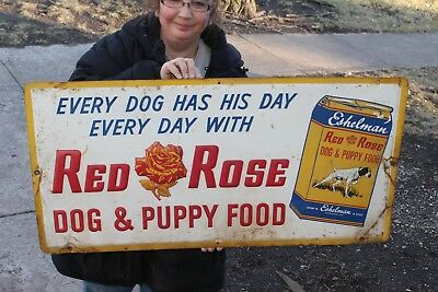 """Vintage 1960 Red Rose Red Dog Food Farm Feed Gas Oil 36"""" Embossed Metal Sign"""