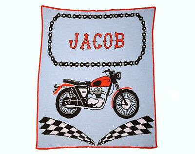 Personalized Motorcycle Knit Baby Blanket - Personalized Gift - Children's Gift