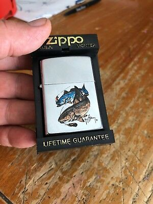 Vintage 1992 Guy Harvey Zippo Lighter 2 Fish Walleye Pike Bass? New Old Stock