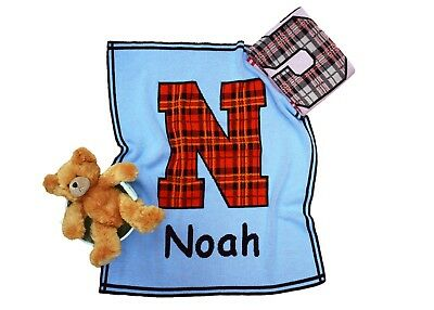 Personalized Plaid Initial Knit Baby Blanket - Personalized Gift - Children Gift