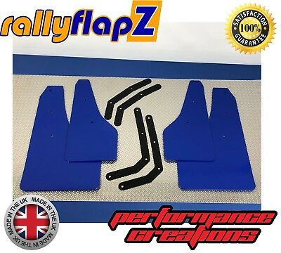 Set of 4 Mud Flaps rallyflapZ Hyundai i30N Blue 4mm Flexible PVC brackets inc
