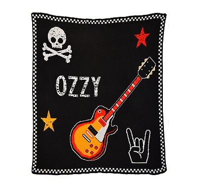 Personalized Rock Guitar Knit Baby Blanket - Personalized Gift - Children's Gift