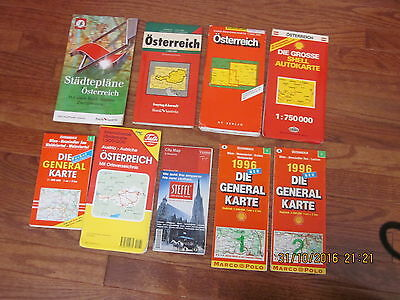 Lot of 9 Vintage Oesterreich / Vienna / Wien Travel Maps Guide Europe Austria