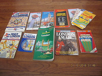 Lot of 14 Vintage London/England Travel Maps-Guides-Book Michelin and more
