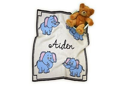 Personalized Elephant Knit Baby Blanket - Personalized Gift - Children's Gift