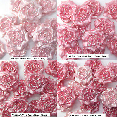 12 Pink Pearl Mix Sugar Roses wedding cake cupcake edible decorations 4 OPTIONS