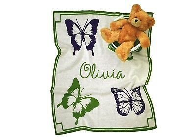Personalized Butterfly Knit Baby Blanket - Personalized Gift - Children's Gift