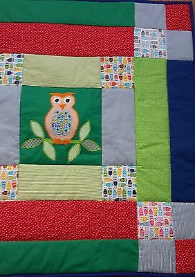 Baby quilted play mat with owls