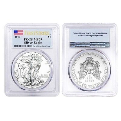 Lot of 2 - 2019 1 oz Silver American Eagle $1 Coin PCGS MS 69 FS (Flag Label)
