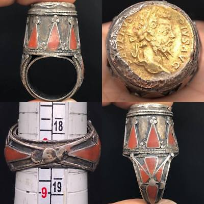 Tabloa Khanium Egypt Rare Old Silver Tower Antique Ring With Unique Coin #SR0125