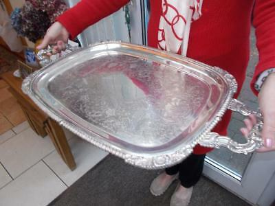 Large Vintage Silver Plated Butlers Serving Tray Lovely Condition