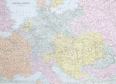 1887 Antique Map Central Europe France Switzerland Austria-Hungary Poland