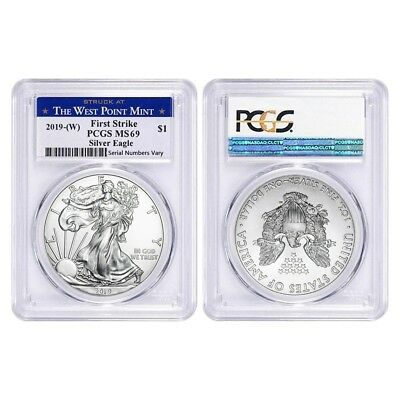 Lot of 2 - 2019 (W) 1 oz Silver American Eagle $1 PCGS MS 69 FS (West Point)