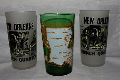 3 Vintage New Orleans Louisiana Glass Tumblers French Quarter & State
