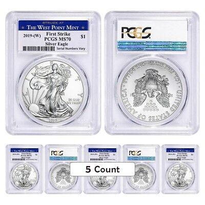 Lot of 5 - 2019 (W) 1 oz Silver American Eagle $1 Coin PCGS MS 70 First Strike