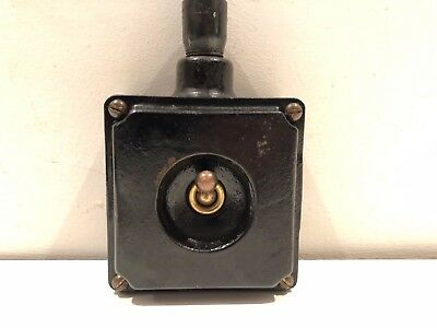 Vintage Walsall Industrial 15 Amp cast iron Brass toggle Light Switch