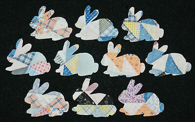 10 PRIMITIVE ANTIQUE CUTTER QUILT BUNNIES! EASTER!! Scrapbooking! Applique! #4