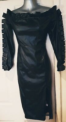 Stunning Missguided Faux Leather Frill Detail Bardot Fitted Midi Dress Size 14!