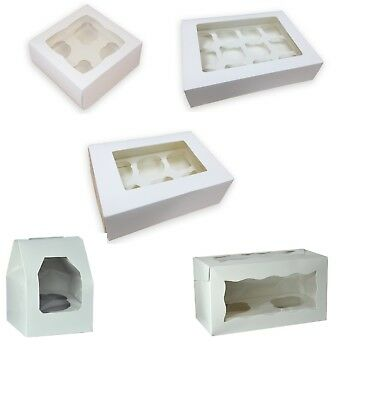 Single 2, 4, 6, 12 hole White Cupcake Boxes