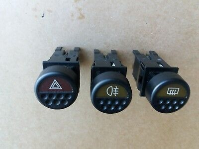Peugeot 205 Pack of 3 Switch Button Hazard, Fog and Heated Window