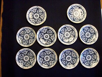 Lot of 10 Antique Blue & White Wedgwood  Butter Pats