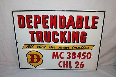 """Vintage c.1970 Dependable Trucking Semi Truck Gas Oil 24"""" Embossed Metal Sign"""