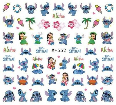 Nail Art Stickers Water Decals Transfers Lilo & Stitch Cartoon (M+552)