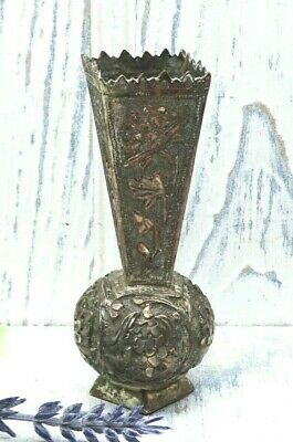 Antique middle eastern bud vase, decorative repoussé silver plated on copper