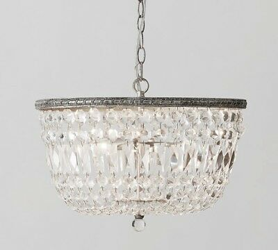 Pottery Barn Charlotte Autumnal Crystal Chandelier ~ Antique Silver