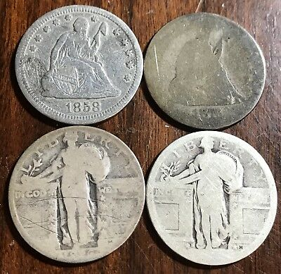 Lot of 4 Cull Seated Liberty & Standing Liberty Quarters Old US Coins .99 Start