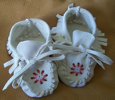 SMALL Beaded Buckskin Baby moccasins