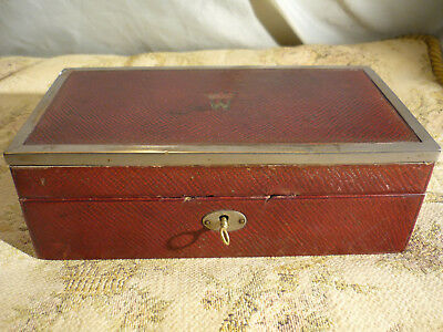 Antique Red Moroccan Leather Wood Box Maker Edwards & Jones Regent Street c1870