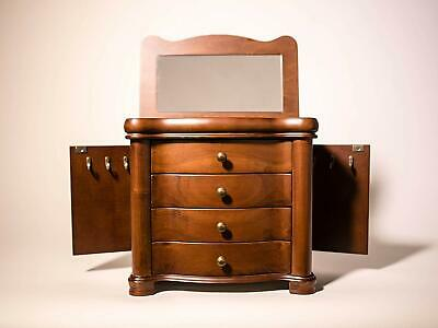 Jewelry Armoire Rustic Accent Antique Style Wood Chest Cabinet Drawer Table Top