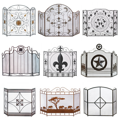 Decorative 3 folding panels Iron Metal Fireplace Screen (10 Variations)