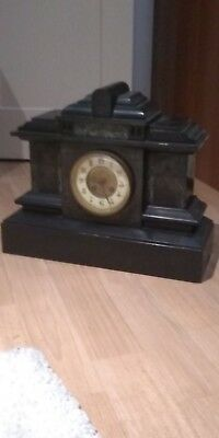 A Large Antique Victorian Slate Mantel Clock