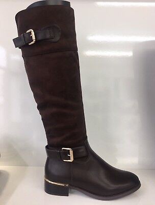 e1a8fd6c7a8e Womens Ladies Faux Leather Suede Brown Knee High Low Block Heel Boots Size 3
