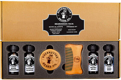DUCKBUTTER Duck Butter Beard Oil Beardsman Pack - 4 Scents with Brush and Comb