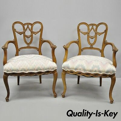 Pair of Vintage French Provincial Louis XV Style Drape Carved Dining Arm Chairs